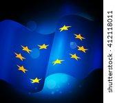 eu flag. european union banner.  | Shutterstock .eps vector #412118011