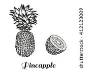 hand drawn image of pineapple... | Shutterstock .eps vector #412123009