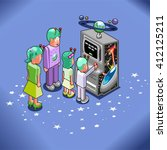 alien famliy playing space... | Shutterstock .eps vector #412125211