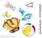 Watercolor Summer Clipart   Ba...