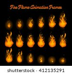 fire flame animation frames for ... | Shutterstock .eps vector #412135291