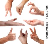 set of different hand signs   Shutterstock . vector #41213785
