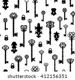 old keys seamless with... | Shutterstock .eps vector #412156351