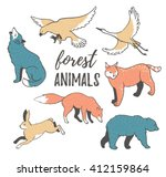 Vector Set Of  Hand Drawn Wild...