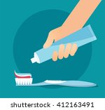 brushing teeth. toothbrush and... | Shutterstock .eps vector #412163491