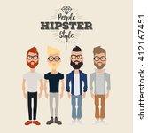 set of hipster men on a white... | Shutterstock .eps vector #412167451