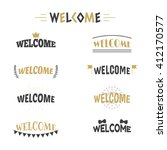collection of 9 welcome labels  ... | Shutterstock .eps vector #412170577