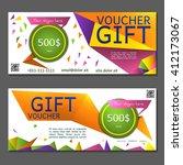 gift voucher. vector ... | Shutterstock .eps vector #412173067