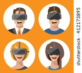 virtual reality glasses man and ... | Shutterstock .eps vector #412173895