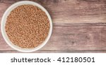flax seeds in white bowl over... | Shutterstock . vector #412180501