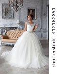 wedding dress in paris. bride... | Shutterstock . vector #412182391