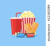 movie poster template. popcorn  ... | Shutterstock .eps vector #412182589