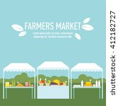 farmers market produce stands... | Shutterstock .eps vector #412182727