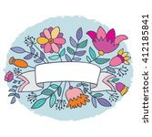 cute floral vignette with... | Shutterstock .eps vector #412185841