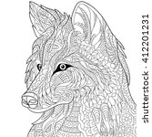 zentangle stylized cartoon wolf ... | Shutterstock .eps vector #412201231