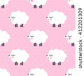 Cute Sheep Seamless Pattern On...