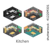 isometric interior of kitchen | Shutterstock .eps vector #412209331