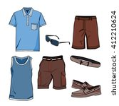 men's clothes and summer... | Shutterstock .eps vector #412210624