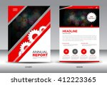 red cover design  annual report ... | Shutterstock .eps vector #412223365