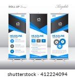 blue roll up banner template... | Shutterstock .eps vector #412224094