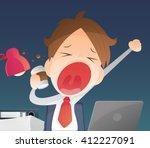 businessman working overtime... | Shutterstock .eps vector #412227091