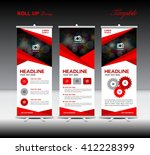 red roll up banner template and ... | Shutterstock .eps vector #412228399