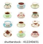 A Dozen Vintage Tea Cups On A...
