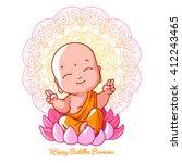 little meditating buddha on the ...   Shutterstock .eps vector #412243465