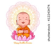 little meditating buddha on the ... | Shutterstock .eps vector #412243474