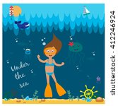 illustration with diving girl | Shutterstock .eps vector #412246924