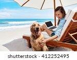 beautiful smiling young woman... | Shutterstock . vector #412252495