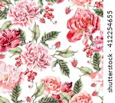 beautiful pattern with peonies... | Shutterstock . vector #412254655