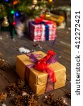 gift in wrapping paper ... | Shutterstock . vector #412272421