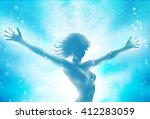 girl in water with hands up. ... | Shutterstock .eps vector #412283059