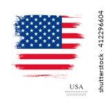 american flag made in brush... | Shutterstock .eps vector #412296604
