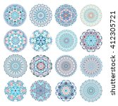set of blue mandalas.... | Shutterstock .eps vector #412305721