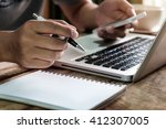 businessman hand working with... | Shutterstock . vector #412307005