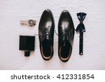 set groom butterfly shoes belts ... | Shutterstock . vector #412331854