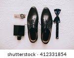 set groom butterfly shoes belts ...   Shutterstock . vector #412331854