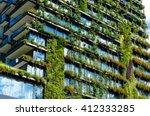 Green Skyscraper Building With...