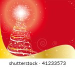 christmas tree on red background | Shutterstock .eps vector #41233573
