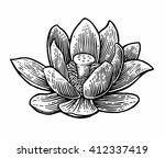 lotus flower. vector black... | Shutterstock .eps vector #412337419