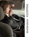 woman back view driving a car ... | Shutterstock . vector #412339561
