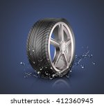 car wheel with splashing water... | Shutterstock .eps vector #412360945