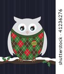 Snowy Owl Wearing A Christmas...