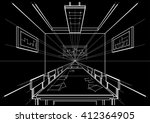 linear architectural sketch...   Shutterstock .eps vector #412364905