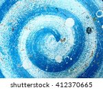 Blue Spiral On Floor  Abstract...