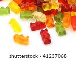 bunch of colorful gummy bears on a white background - stock photo