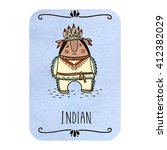 card with cartoon indian on... | Shutterstock .eps vector #412382029