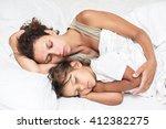 sleeping kid girl and her...   Shutterstock . vector #412382275
